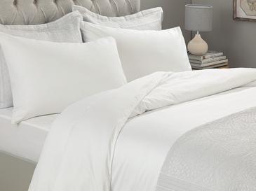 Plain Памучен Комплект Спално Бельо Двоен Размер 200x220 См Бяло