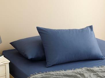 Plain Комплект Чаршафи с Ластик Двоен Размер 160x200 См Нощно Синьо