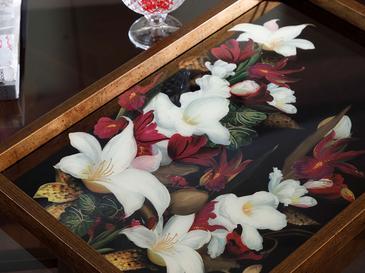 Art Bloom Стъклен Поднос 31x46 См Черно