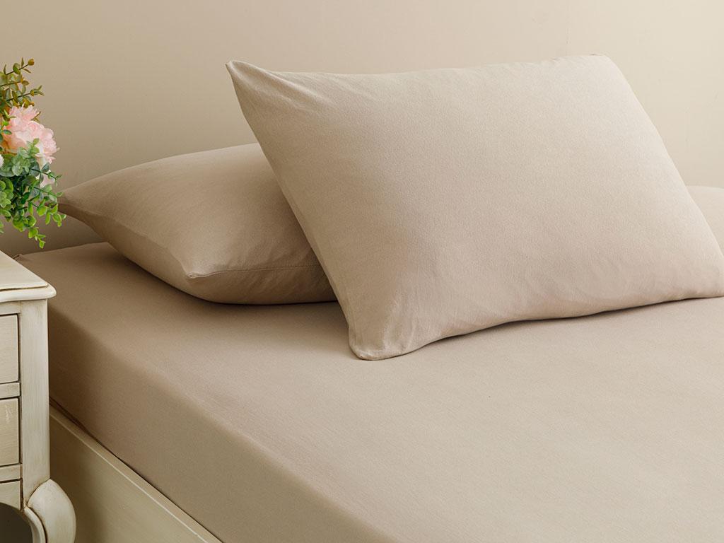 Plain Cotton Fitted Bed Sheet Set Double Size 160x200 Cm
