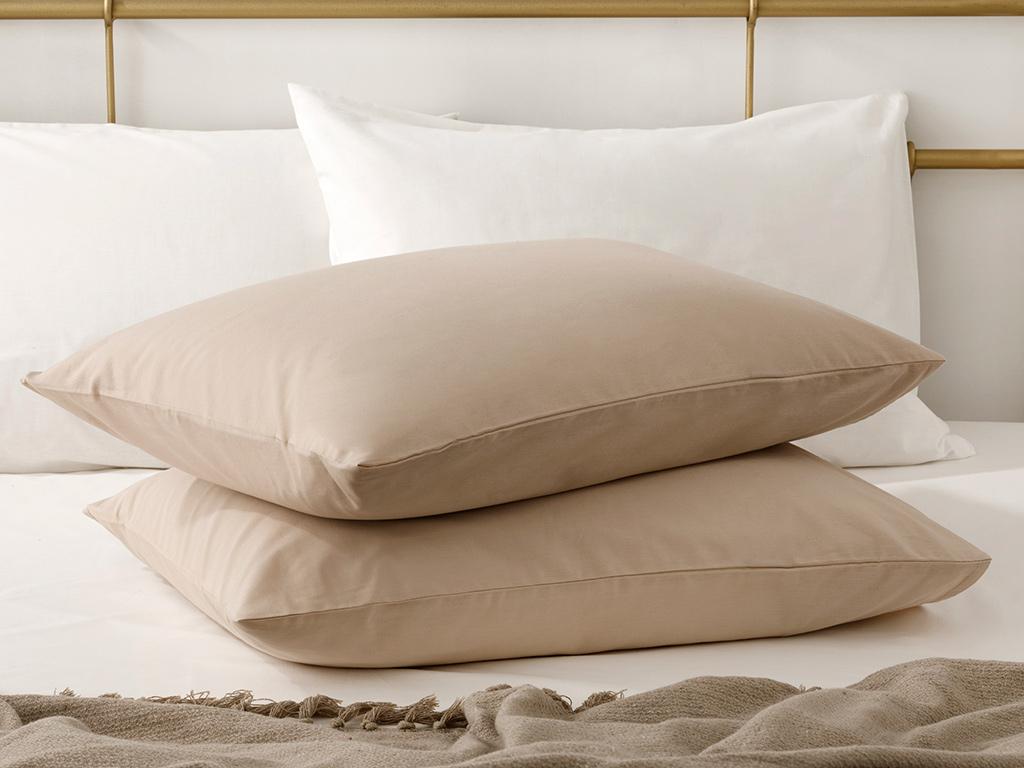 Plain Cotton Pillowcase 2 Piece 50x70 Cm Coffee