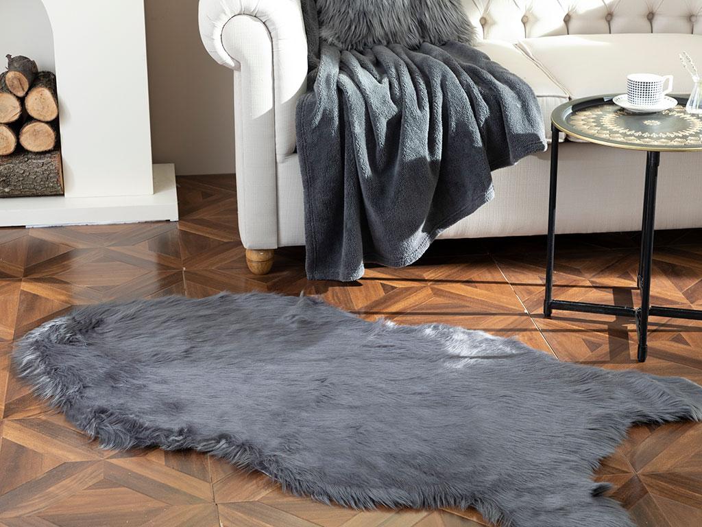 Jade Acrylic Fake Fur 80x150 Cm Stone Coal