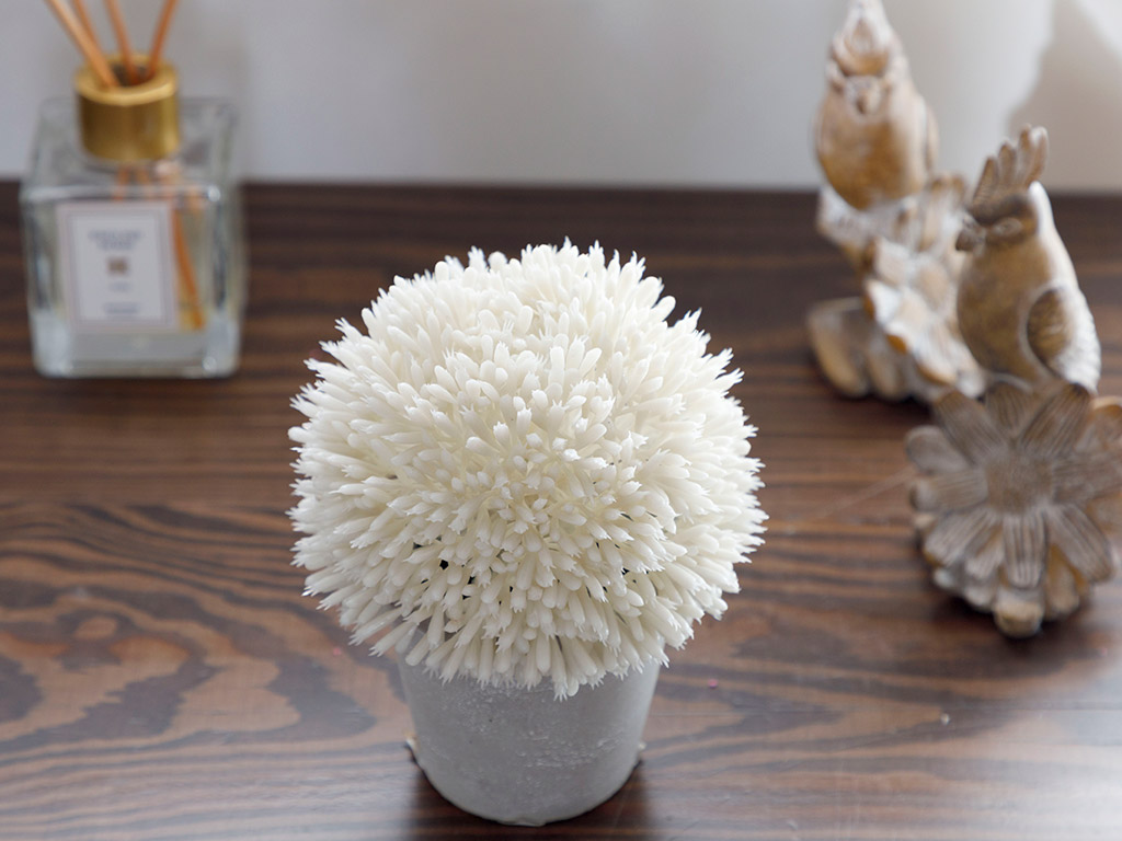 Flower Bunch Artificial Flower With Ceramic Vase 11x11x14 Cm White