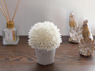 Flower Bunch Изкуствено Цвете с Ваза 11x11x14 См Бяло