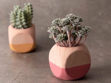 Succulent Изкуствено Цвете с Ваза Керамика 10x10x13 См Зелено