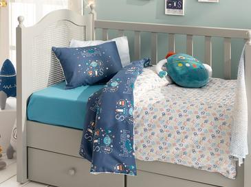 Happy Robots Комплект Бебешко Спално Бельо 100x150 См Индиго
