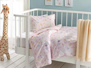 Mini Giraffe Комплект Бебешко Спално Бельо 100x150 См Розово