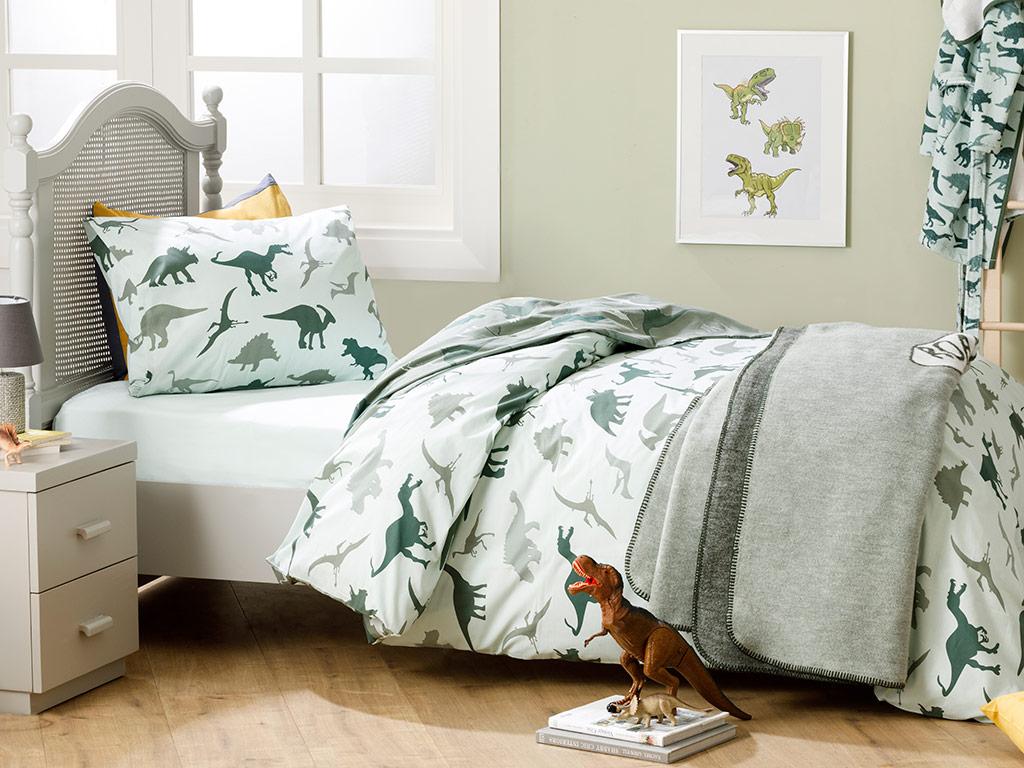 Dinosaurs Cotton Baby Duvet Cover Full Set 160x220 Cm Green
