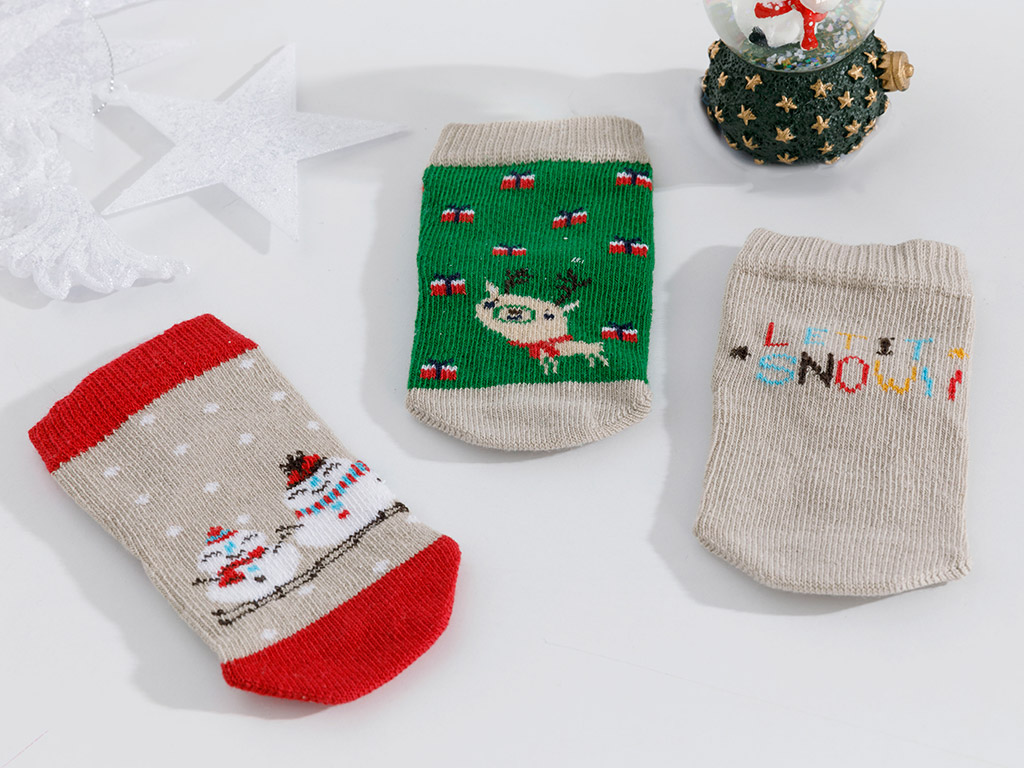 Let It Snow Baby Socks 6-12 Months Beige