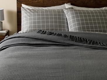 Plaid Покривка за Легло Единичен Размер 160x240 См Тъмноcиво