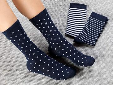 Colourful Дамски Чорапи 3 Бр. Бяло-Тъмносиньо