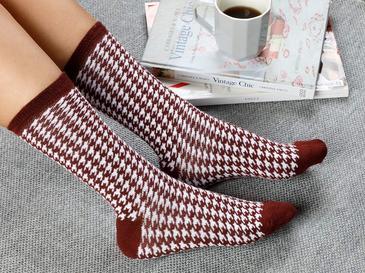 Houndstooth Чорапи Стандарт Бордо