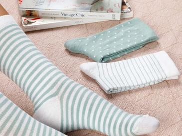 Colourful Дамски Чорапи 3 Бр. Бяло-Зелено