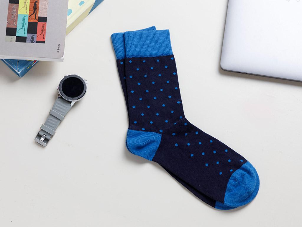 Spots Cotton Socks Mix Navy Blue