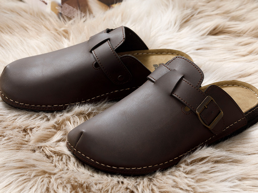 Leather Home Slippers 40 Coffee