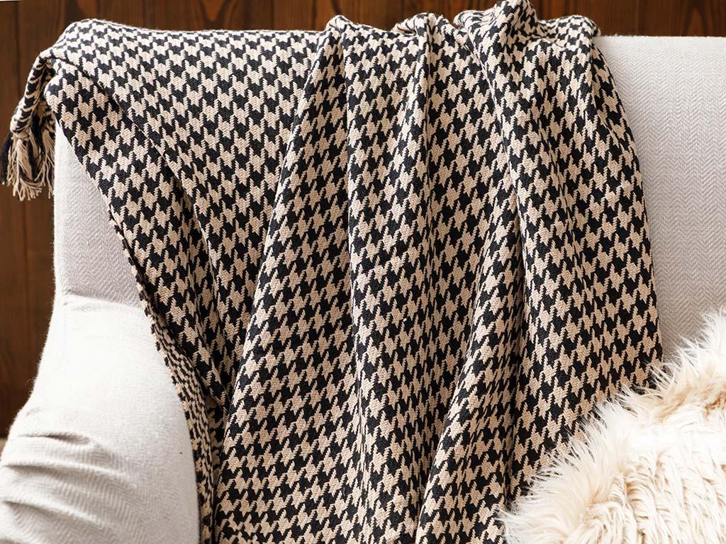 Pied De Poule Cotton Chair Shawl 130x170 Cm Beige-Black