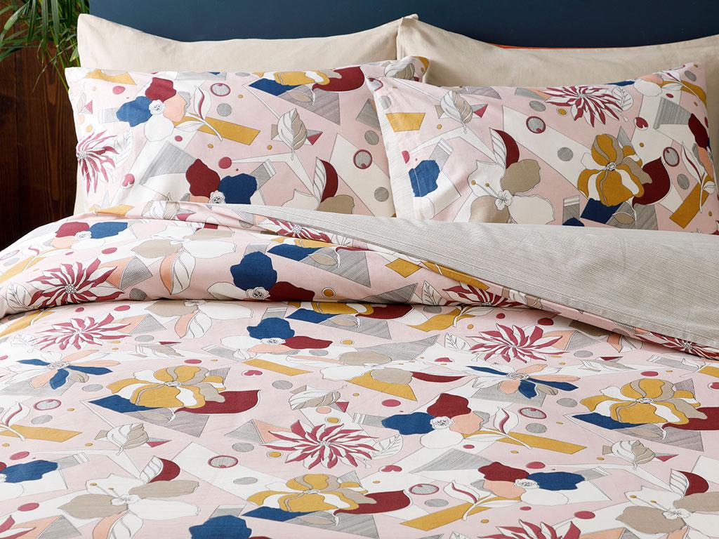 Unique Flowers Комплект Спално Бельо Единичен Размер 160x220 См Розово