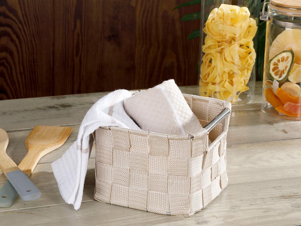 Checked Polypropilen Basket 16x16x11 Cm White - Beige