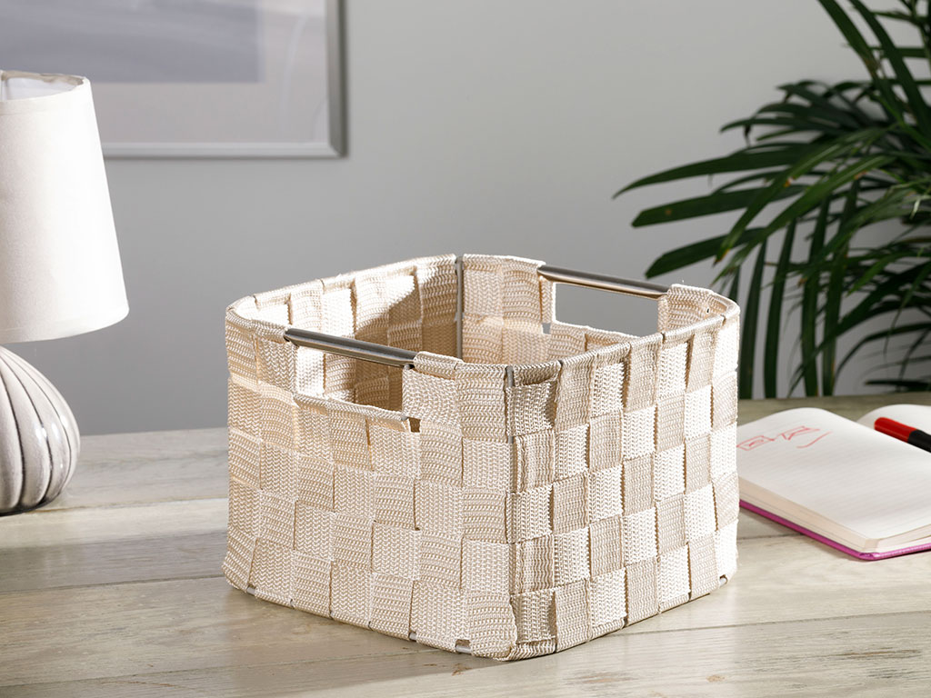 Checked Polypropilen Basket 21x21x15 Cm White - Beige
