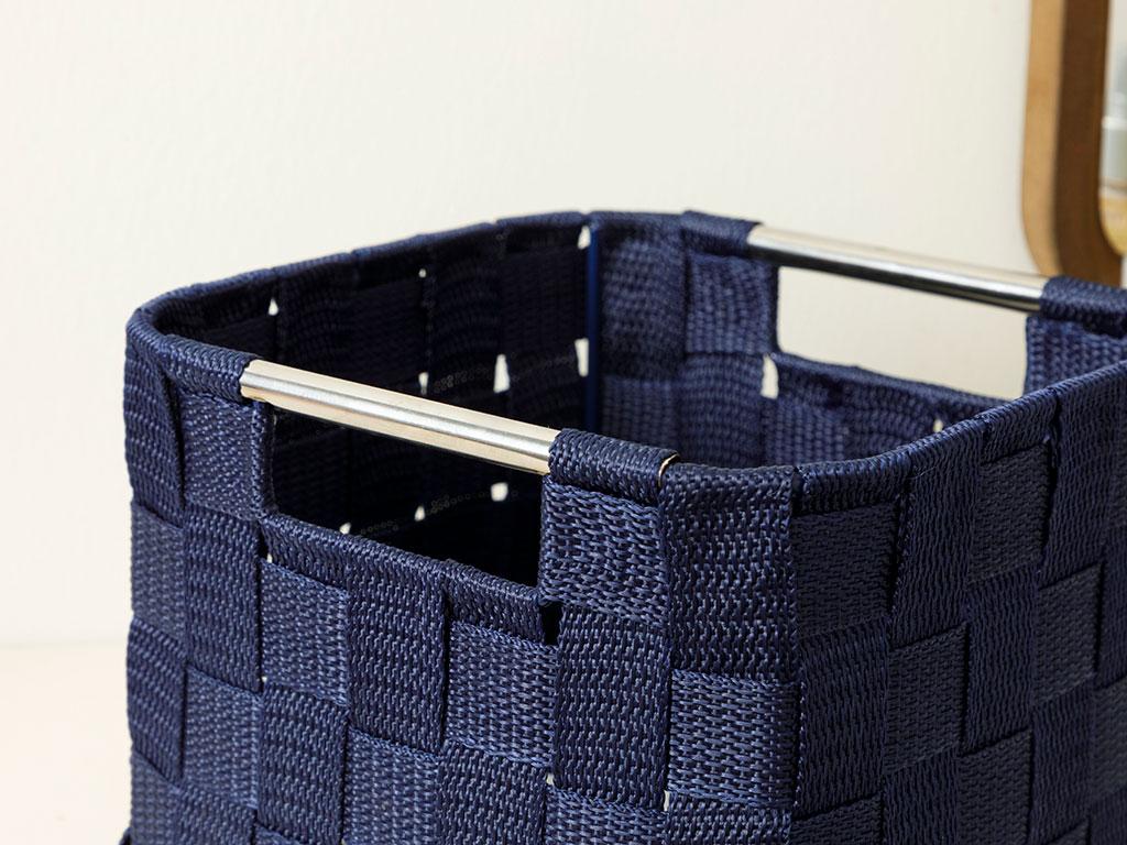Checked Polypropilen Basket 19x19x13 Cm Navy Blue