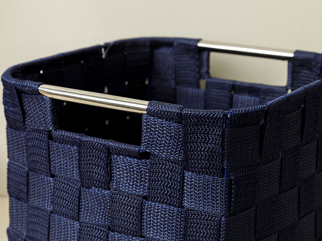 Checked Polypropilen Basket 21x21x15 Cm Navy Blue