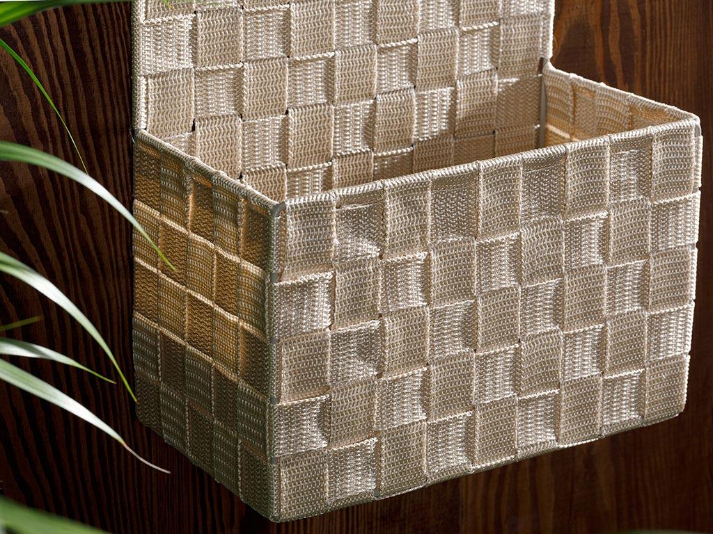 Checked Polypropilen Storage Box 24x12,5x31 Cm White - Beige