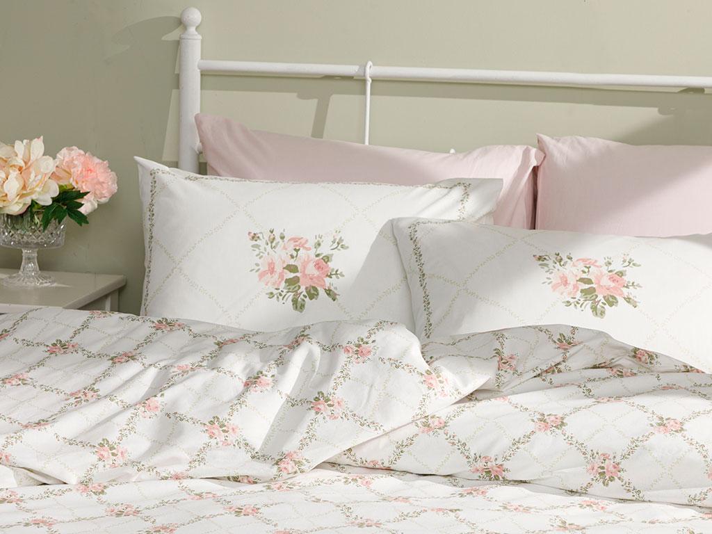 Rose Chain Cotton Duvet Cover Set Super King 260x220 Cm Light Pink