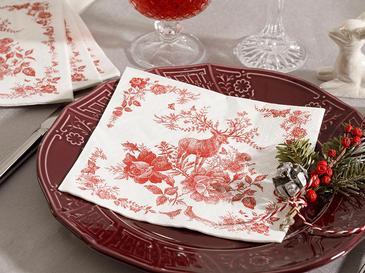 Candy Flowers Хартиени Салфетки 22 Бр. 33x30 См Червено