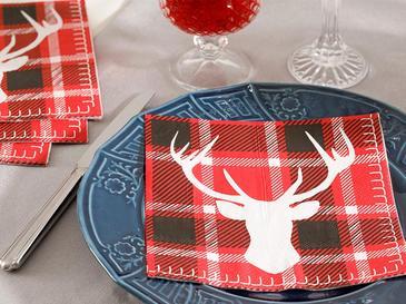 Deer Хартиени Салфетки 20 Бр. 33x30 См Червено-Тъмносиньо