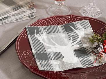 Deer Хартиени Салфетки 20 Бр. 33x30 См Сиво