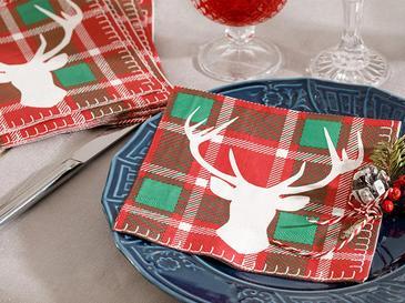 Deer Хартиени Салфетки 20 Бр. 33x30 См Червено-Зелено