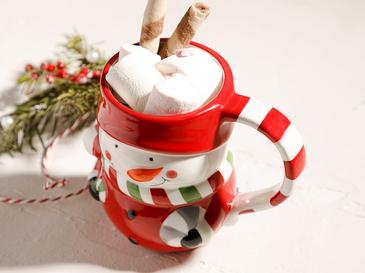 Snowman Доломит Чаша 12x8x10 См Червено-Бяло
