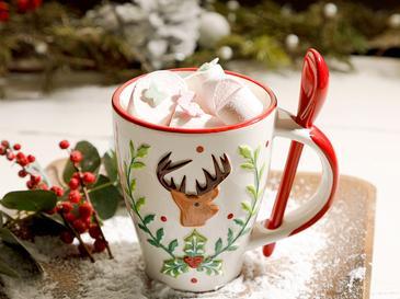 Merry Deer Доломит Чаша 13x9 См Червено-Бяло