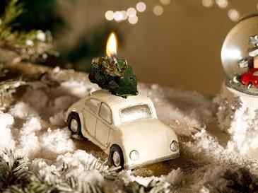 Christmas Свещ 9,5x6,5 См Бяло
