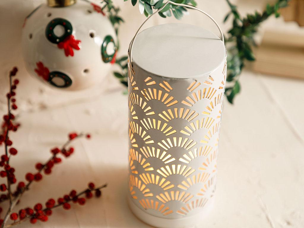 Shine Metal With Led Lantern 8x8x17 Cm Beyaz
