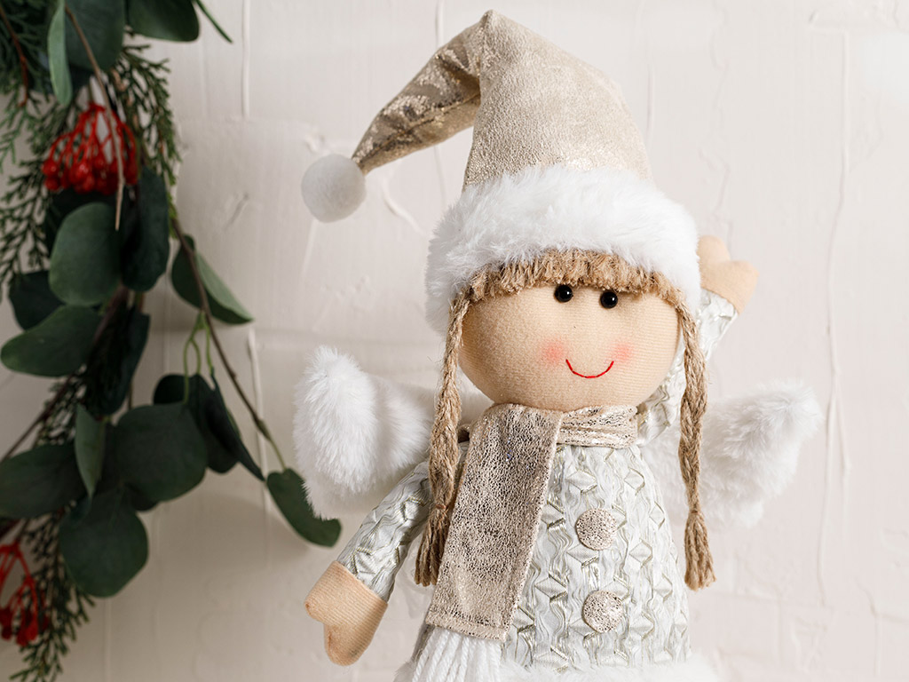 Charming Angel Polyester Decorative Object 28x20x8 Cm Gold