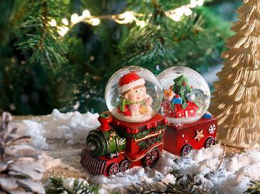 Train Снежно Кълбо Polyresin Червено