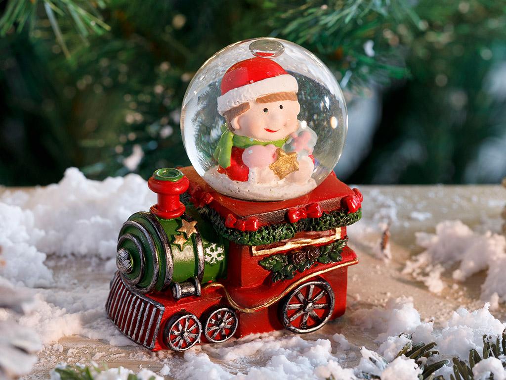 Train Polyresin Snow Globe Kırmızı