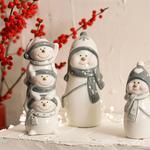 Cheerful Snowman Stoneware Decorative Object 4,2x5,2x11 Cm White