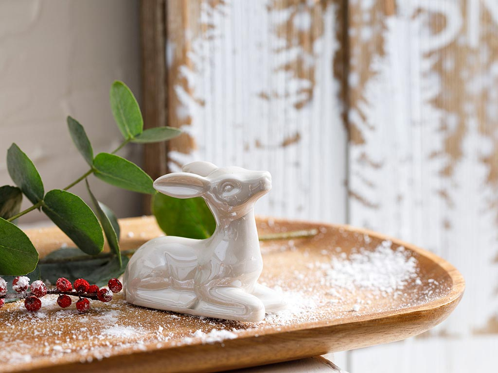 Snow Deer Stoneware Decorative Object 3,5x7x6,8 Cm Cream