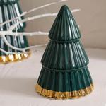 Pine Tree Stoneware Decorative Object 7x7x10 Cm Green