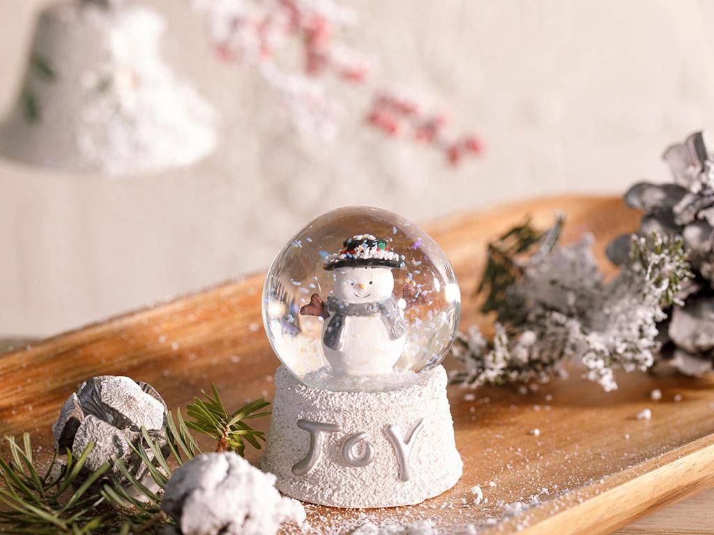 Funny Snowman Stone Powder/polyresin Snow Globe 4,5x10,5x4,5 Cm White