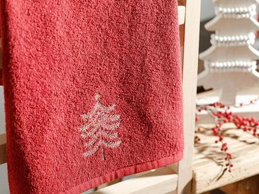 Winter Tree Подаръчна Хавлия Пакетирано Бродирани 40x60 Червено