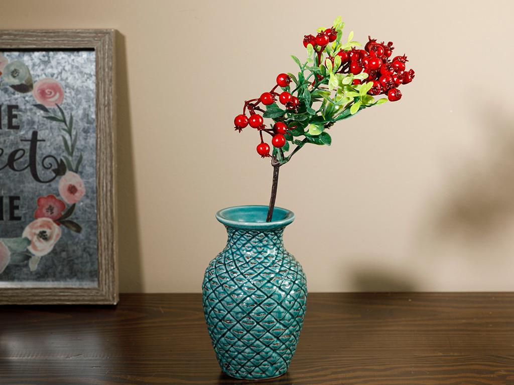 Tek Dal Yapay Çiçek 28 Cm. Bordo