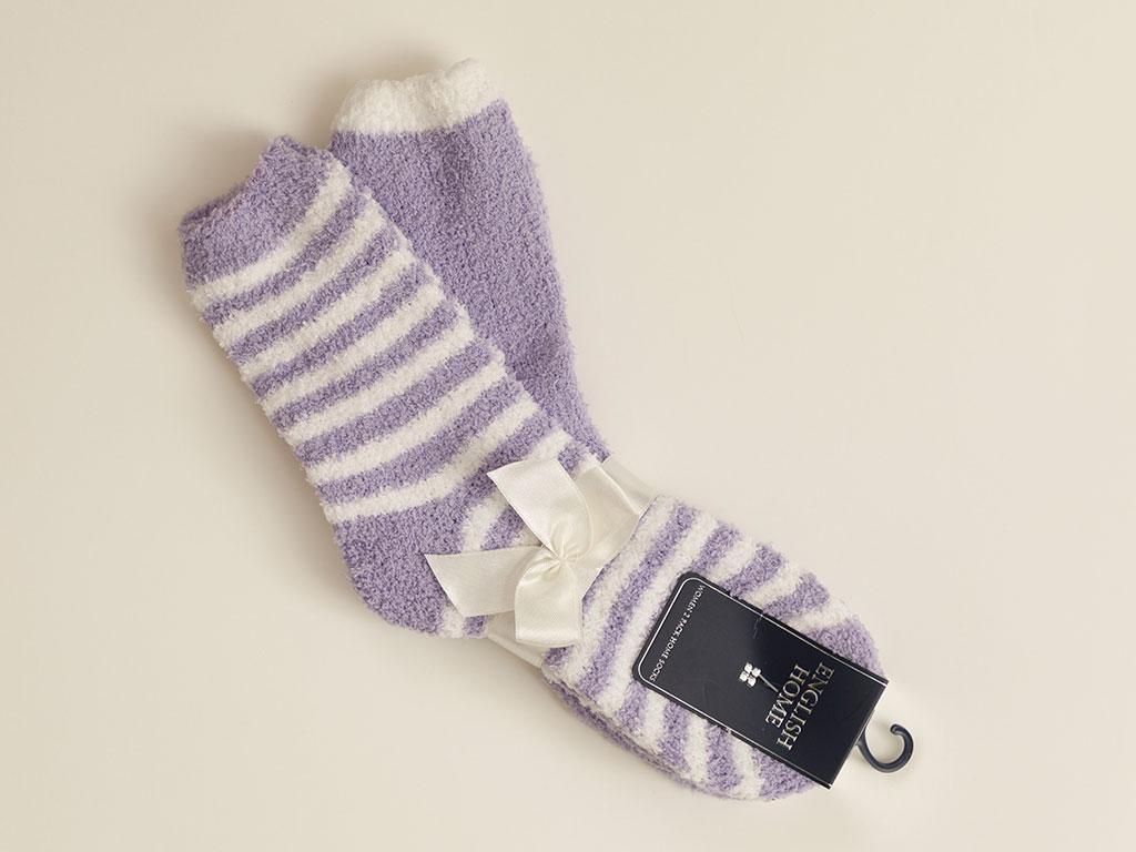Stripe Plush Socks Mix Pink-White