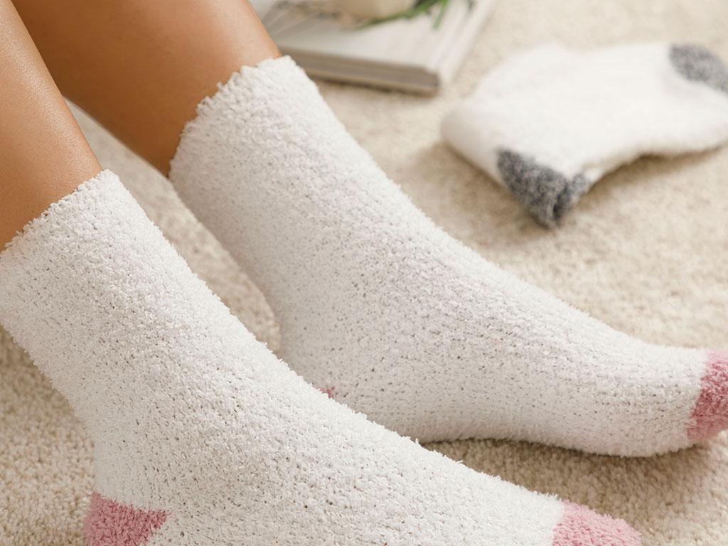 Straight Plush Socks Mix Dusty Rose