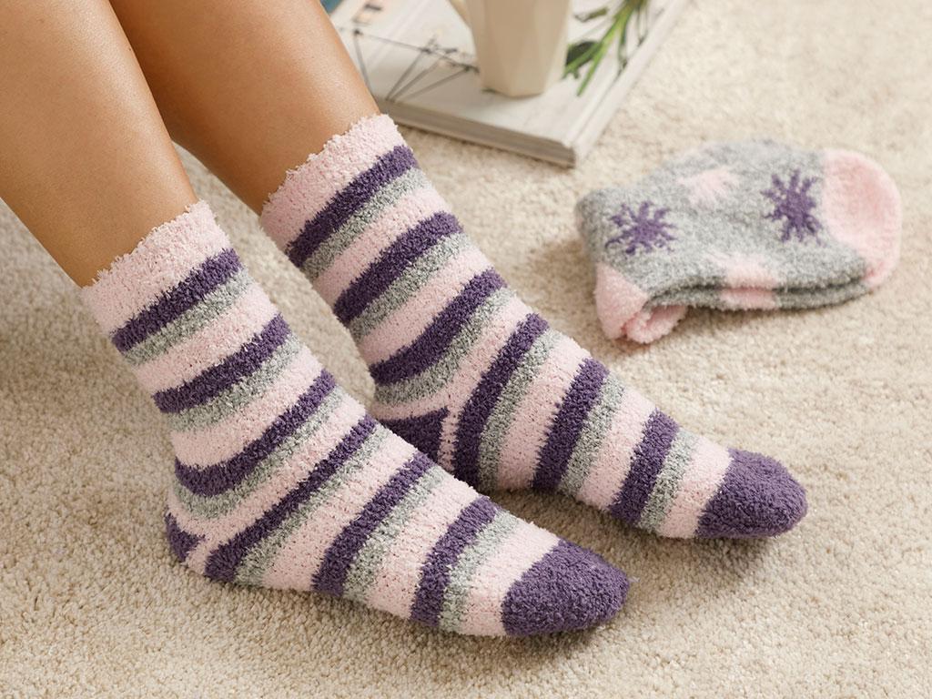 Snowflake Plush Socks Mix Beige-Purple