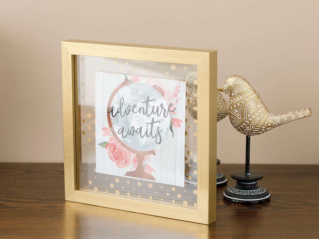 Adventure Mdf Picture Frame 24x24 Cm Coffee
