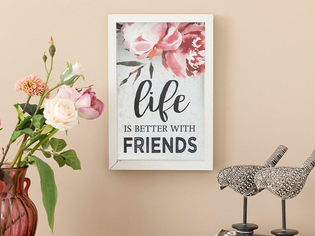Happy Friends Mdf Paıntıng 20x21x8 Cm Gray