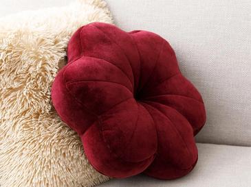 Bloom Кадифена Декоративна Възглавница с Пълнеж 40x40 См Бордо